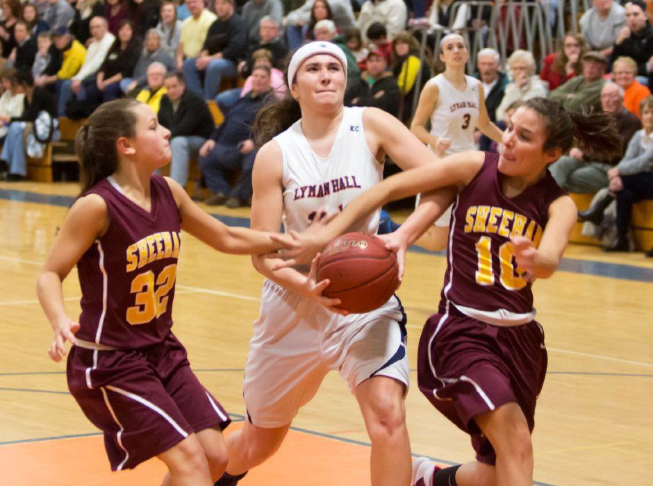 Lyman Hall hosted Sheehan in the second round of the state Class L girls basketball tournament, March 7, 2014. Lyman Hall won 60-42. | Christopher Zajac / Record-Journal