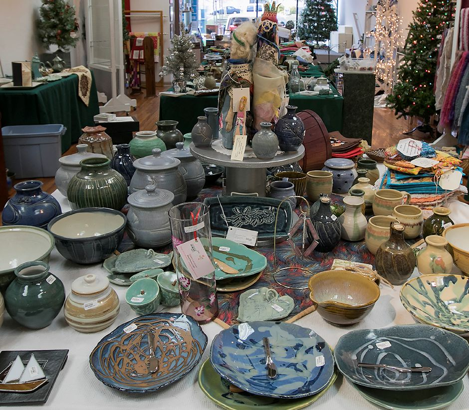 A variety of items made by local artists at Gallery 53 for its annual Holiday Fair, Monday, Nov. 20, 2017. Gift items include jewelry, pottery, scarves, ornaments, quilts, paintings and pet gifts. The fair runs Nov. 24- Dec. 24. | Dave Zajac, Record-Journal DAVE ZAJAC