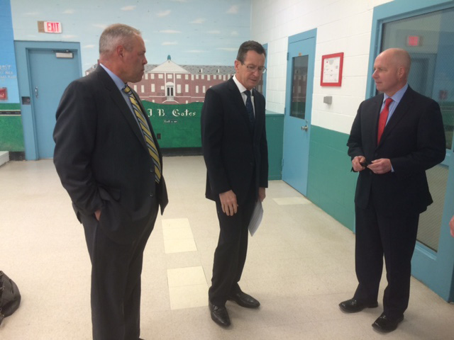 Gov. Dannel P. Malloy, on a recent prison visit, flanked by Scott Semple, left, and Michael P. Lawlor.CTMIRROR.ORG