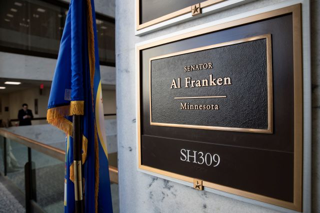 The office of Sen. Al Franken, D-Minn., is seen in the Hart Senate Office Building on Capitol Hill in Washington, Thursday morning, Dec. 7, 2017. Facing fresh allegations of sexual misconduct, the former comedian who made his name on Saturday Night Live faces a chorus of calls to step aside, and Democratic senators said they expected their liberal colleague to resign. (AP Photo/J. Scott Applewhite)
