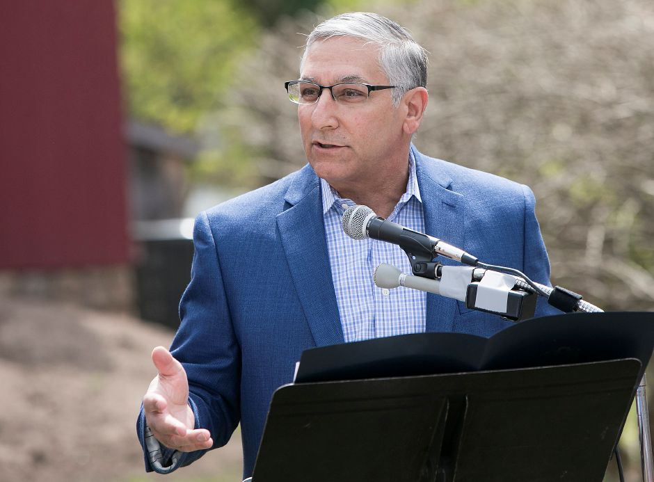 FILE PHOTO: State Senator Len Fasano speaks during a plaque dedication ceremony commemorating the 100th anniversary of the demise of Major Gervais Raoul Lufbery at the Wallingford Historical Society, Saturday, May 5, 2018. Dave Zajac, Record-Journal