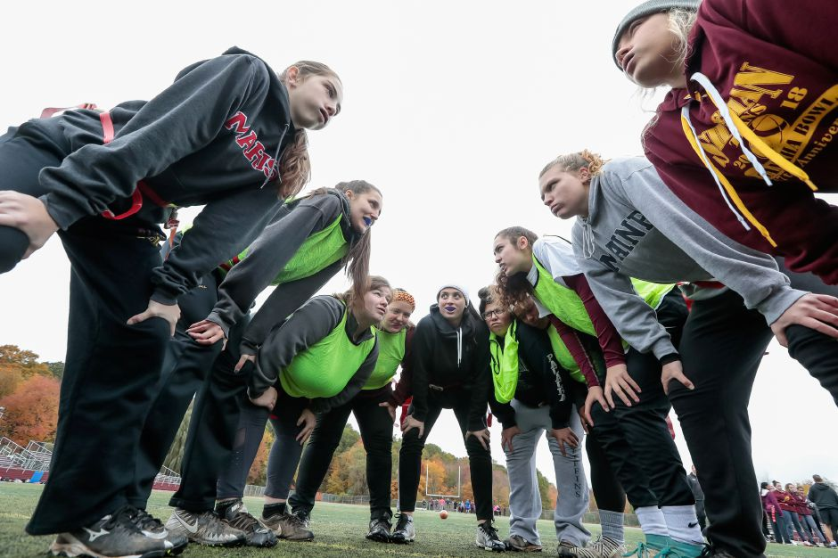 Sunday during Powder Puff practice at Sheehan High School in Wallingford October 28, 2018 | Justin Weekes / Special to the Record-Journal