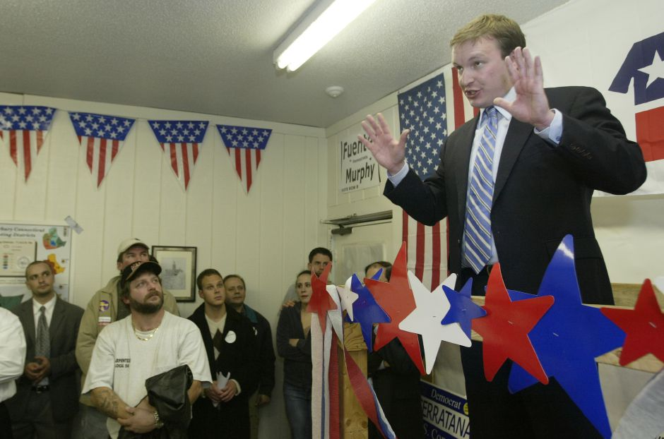 State Senator Chris Murphy addresses supporters after receiving unofficial news of his re-election of his second term as State Senator at Waterbury election headquarters on Tuesday Nov,2,2004.