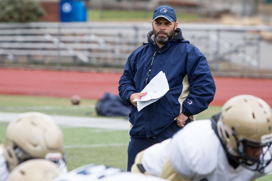 Platt football coach Jason Bruenn and his Panthers will travel to Notre Dame-West Haven for a non-conference matchup on Friday, Sept. 27. The game is part of the Connecticut High School Football Alliance, a consortium set up in 2017 by the SCC, SWC and ECC. The CCC and FCIAC have joined for 2019. | Justin Weekes / Special to the Record-Journal