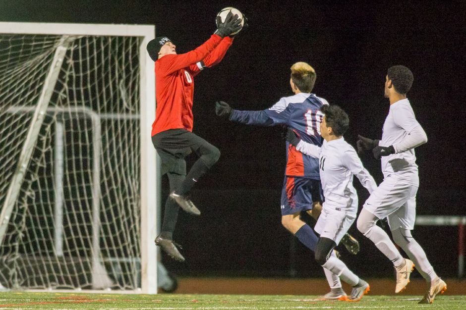 Goaltender Devin Juan and the Maloney Spartans will look to recapture the magic that carried them to last year's Class L state final when the 2019 tournament opens today. Maloney makes the long haul east to face Ellis Tech in Danielson in its first-round game. Record-Journal file photo