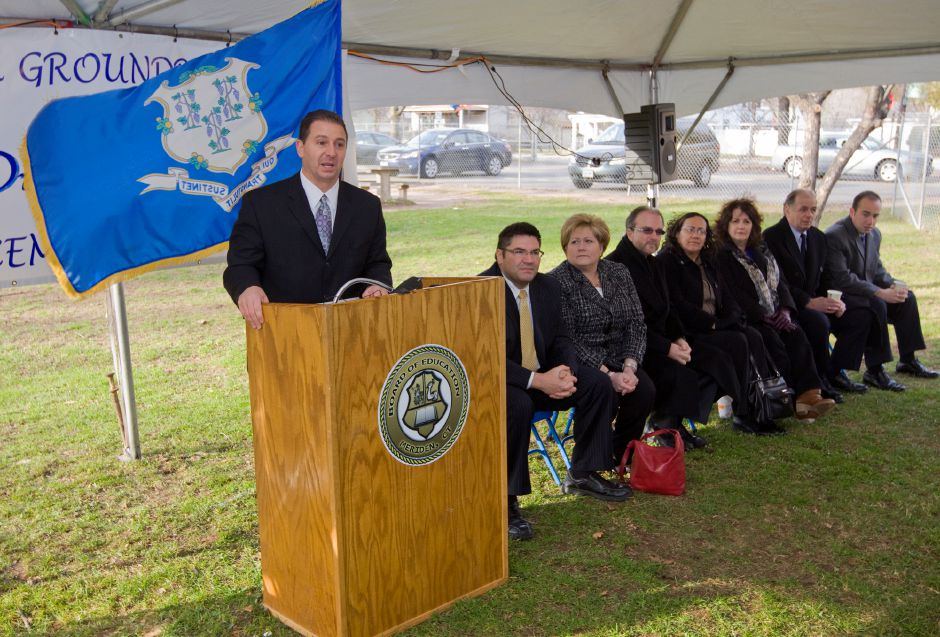 Mark D. Benigni, Ed.D, superintendent of the Meriden Public Schools presides over the groundbreaking ceremonies for the new all-day kindergarten wing at the Hanover School in Meriden, Friday, Dec. 16, 2011. (Bob Stern/Record-Journal)