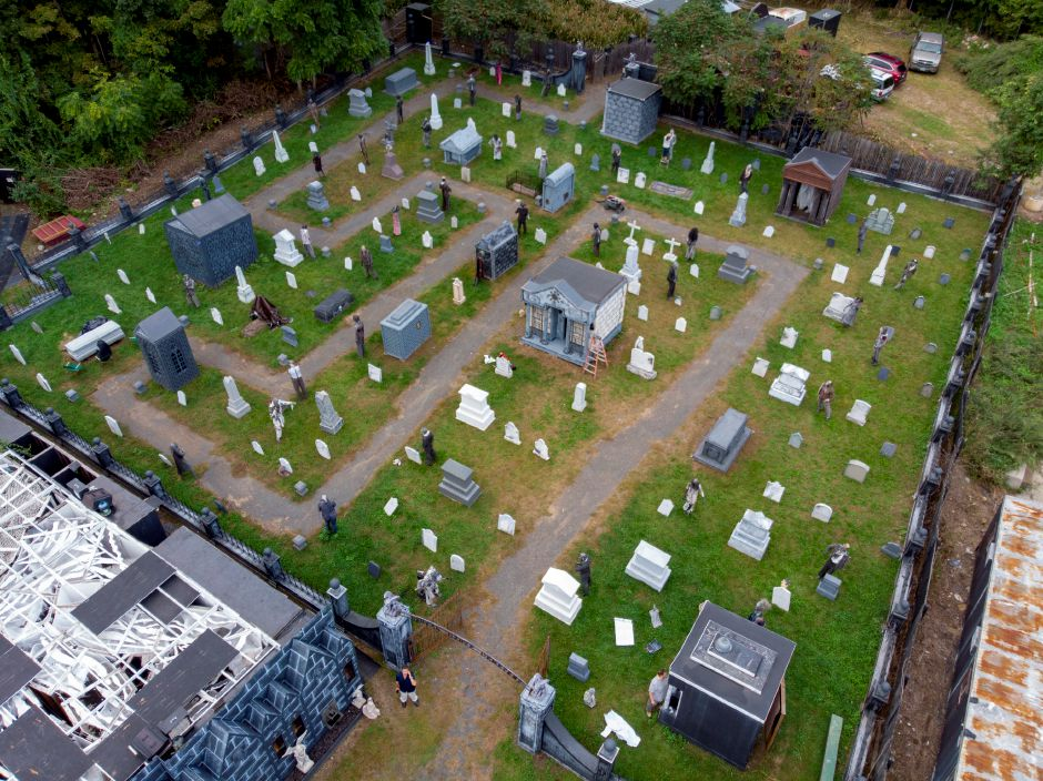The Haunted Graveyard is coming together at Lake Compounce Sept. 27, 2018. | Richie Rathsack, Record-Journal