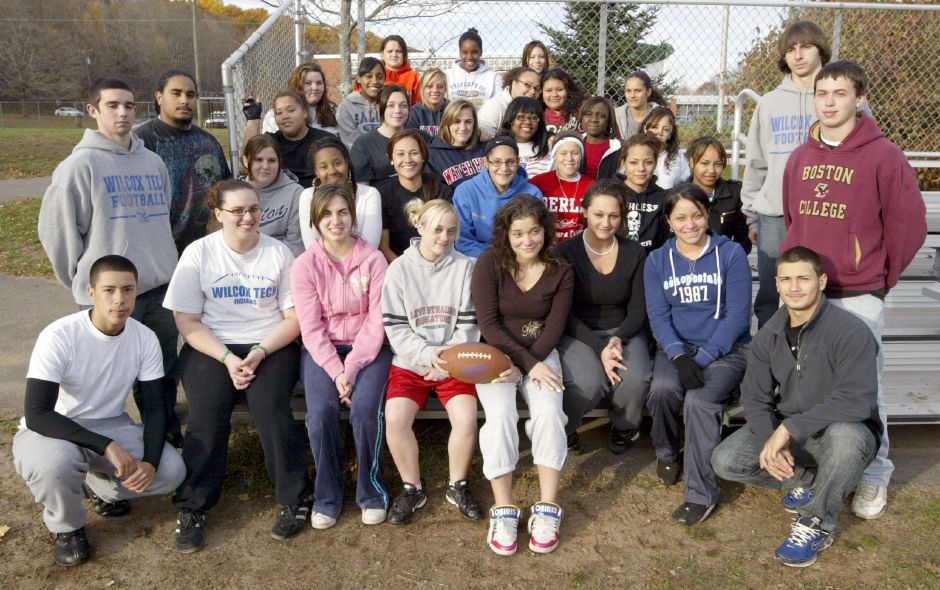 MERIDEN, Connecticut - Wednesday, November 4, 2009 - Wilcox Tech Powder Puff football team and coaches. Rob Beecher / Record-Journal