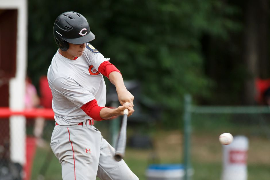 Ian Battipaglia drove in the decisive run in the bottom of the seventh and was the winning pitcher in relief in the Cheshire American Legion baseball team's 2-1 victory over Danbury in the opening round of the state tournament Saturday at Burt Leventhal Field.  | Justin Weekes / Special to the Record-Journal