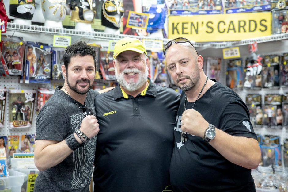 David Gere, Ken Asal and Peter Polaco, better known by his wrestling stage name Justin Credible, pose at Ken