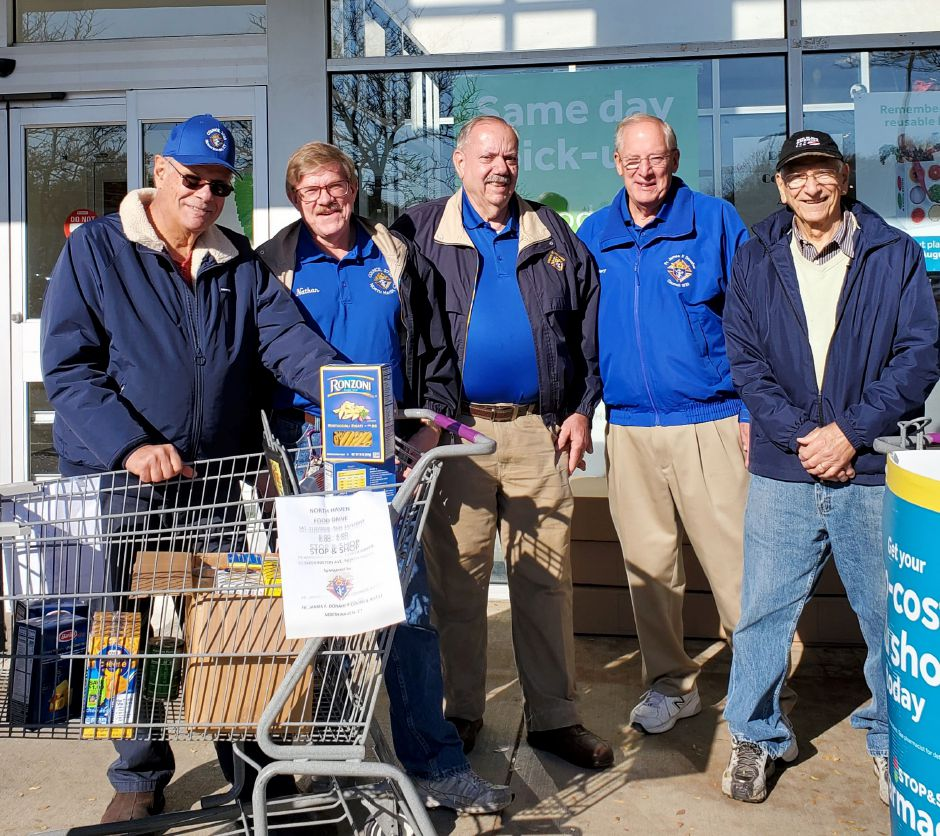 The North Haven Knights of Columbus were stationed at Stop & Shop in North Haven on Nov. 2-3 soliciting donations for the North Haven Food Bank. Shoppers donated $1,013 and 1,150 pounds of non-perishable food. The following Knights volunteered their time in this effort: Vin Costanzo, John Rubino, Dom Masella, Jules Gerbi, Jim Dacey, Tony Caiafa, Bob Brancato, Justin Appi, John Palmieri, Nate Vestal, Larry Esposito, Harry Bahls, Doug Fernandez, Don Clark and Grand Knight Paul Caiafa.