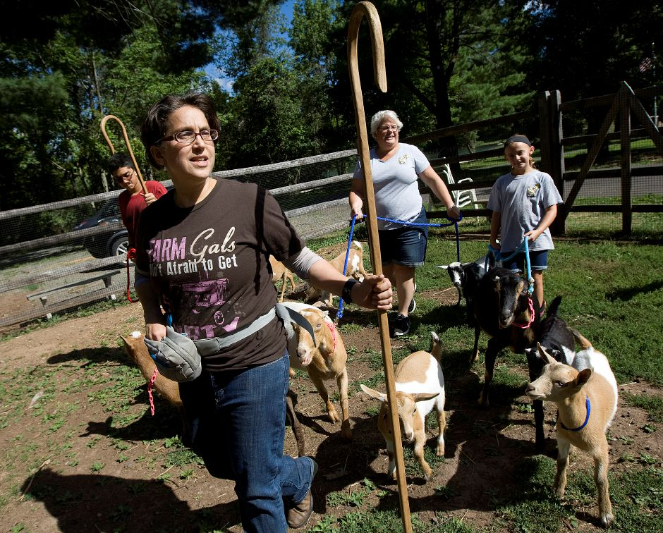 Anneliese Dadras, owner of Bradley Mountain Soaps, LLC, leads goats on a walk with son, Kiyan, 14, Karen Perry, and Shelby Jordan, 9, at Bradley Mountain Farm in Southington, Wednesday, August 17, 2016. Dadras creates and sells items made from goat's milk including scented soap, body scrubs, lotions, and more. | Dave Zajac, Record-Journal