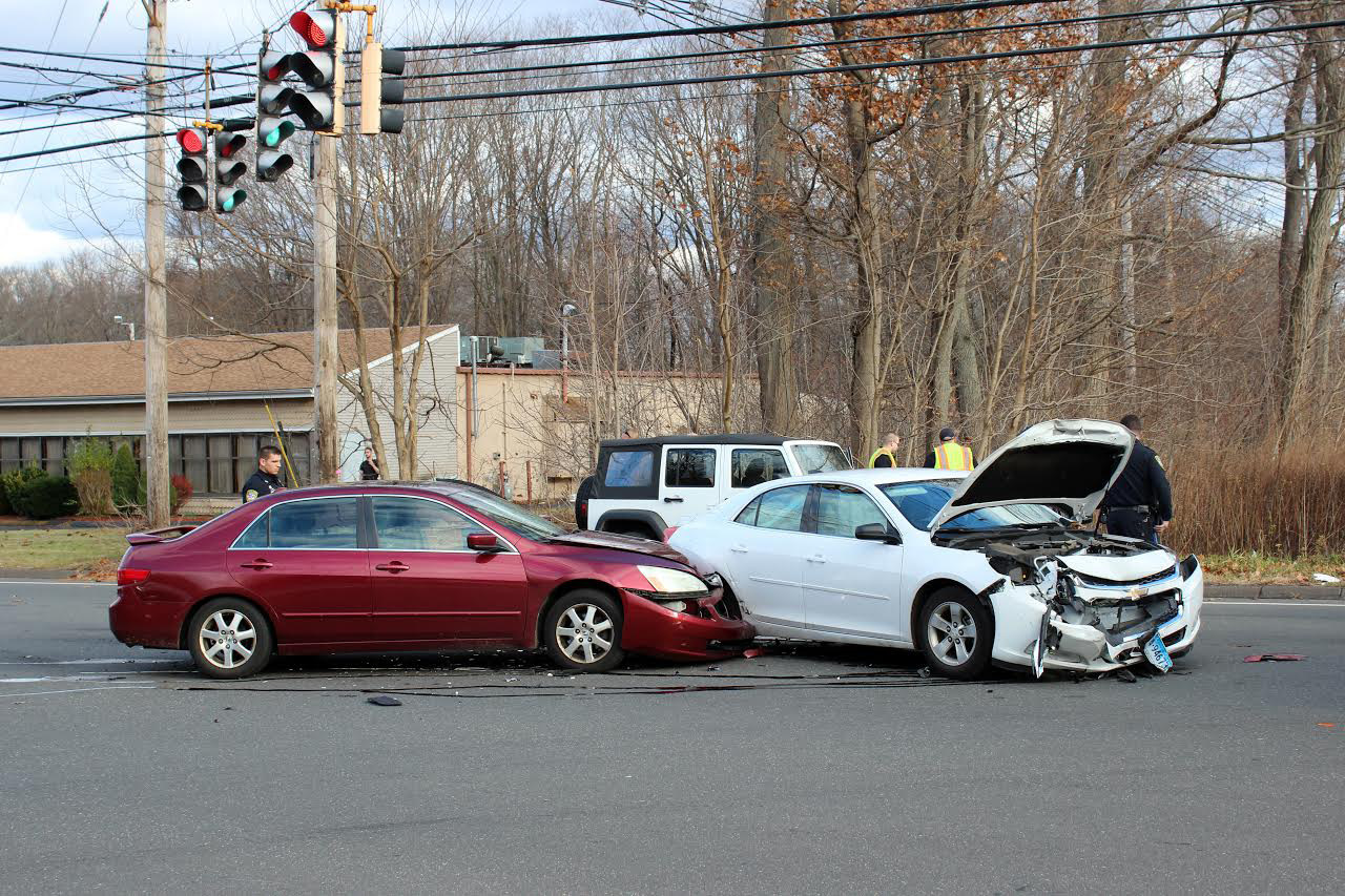 Two vehicles collided when one car ran a red light at the intersection of South Colony Road and Cook Hill Road in Wallingford on Dec. 2, 2016 | Contributed