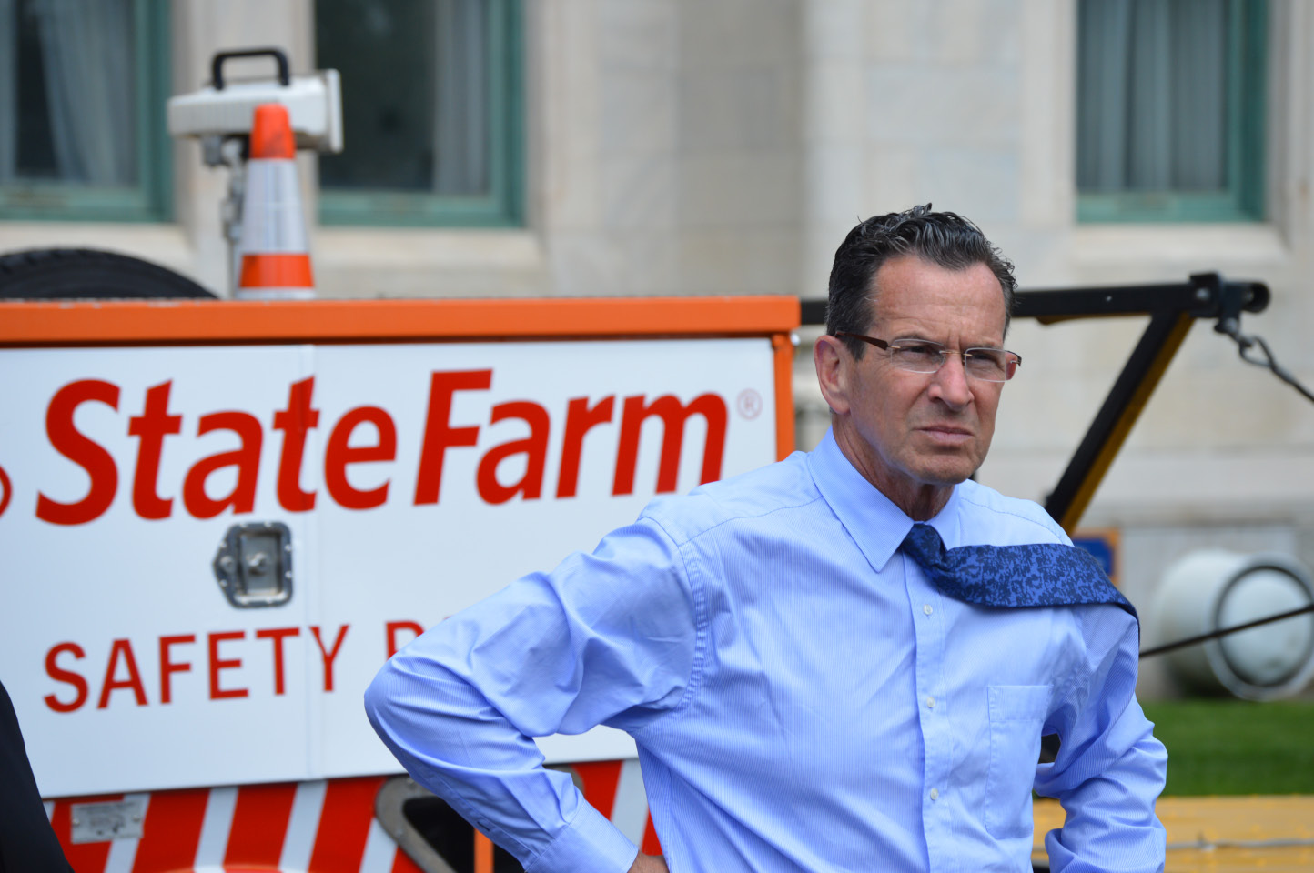Gov. Dannel P. Malloy announced that State Farm will pay $495,000 annually to help fund the Connecticut Highways Assistance Motorist Patrol during a press conference on Friday, May 19, 2017. | Mike Savino, Record-Journal