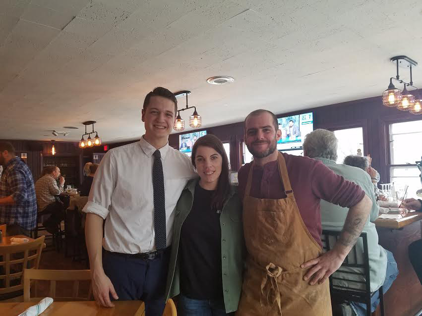 Harrison Poltorak of Rebel Dog Coffee Co., and Vanessa Champagne and Jerry Daniels of JV's Taproom. Both businesses celebrated their grand opening in the old Confetti restaurant building on Farmington Avenue Tuesday, March 28. | Jaime Ulrich, contributed