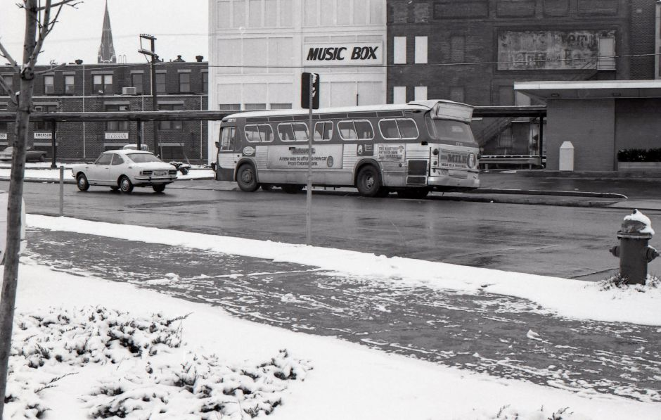 A bus in fron the Meriden Train Station on State Street, March, 1975.