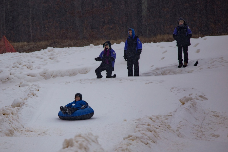 Grant Slippen of Fairfield heads down the slope at the Powder Ridge tubing park. Photos by Richie Rathsack, Record-Journal