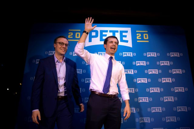 FILE - In this May 9, 2019 file photo, Democratic presidential candidate Pete Buttigieg, right, and husband, Chasten Glezman, acknowledge supporters after speaking at a campaign event in West Hollywood, Calif. A significant portion of US voters remains hesitant about supporting an LGBT candidate for president, according to a new AP-NORC poll. Yet many LGBT candidates in major non-presidential races have overcome such attitudes, and political experts predict the path for future LGBT...