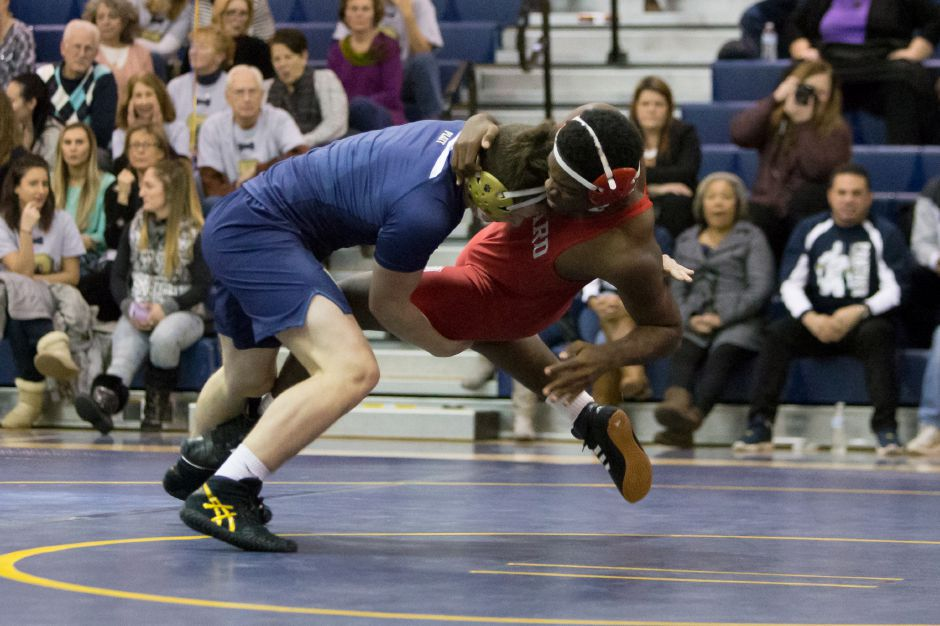 Platt's Ben Stratton recorded career win No. 100 at Saturday's East Haven Duals. | Justin Weekes / Special to the Record-Journal