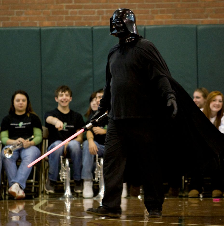 Darth Vader, played by Jon Pulino, an english teacher, makes an appearance at the annual pep rally at Maloney High School, Wednesday, November 27, 2013. | Dave Zajac / Record-Journal