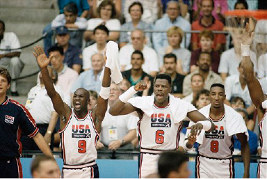 the best attitude 3a547 5efd6 USA s Michael Jordan (9), Patrick Ewing (6) and Scottie Pippen (8) cheer on  teammates during gold medal basketball game against Croatia in Barcelona ...