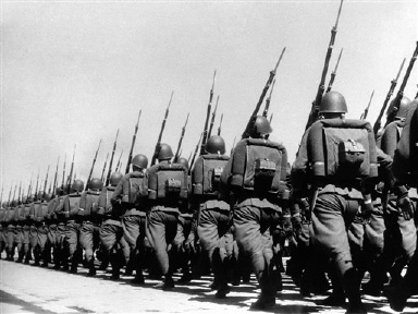 Polish soldiers on the march sturdy, short-legged, very efficient, with daggers at belt, on Sept. 1, 1938, in Poland. (AP Photo)