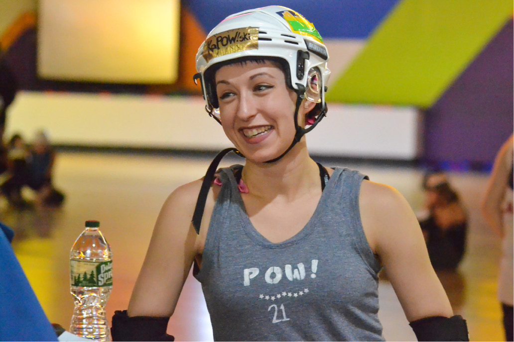 Kate Slomkowski, of Wallingford, take a break during the CT RollerGirls practice and tryout session Thursday in Waterbury. Slomkowski joined the league last year and recently was accepted onto one of the travel teams. | Pete Paguaga. Record-Journal