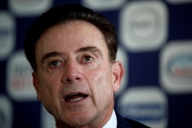 Rick Pitino the new coach of the Greek national basketball team answers during a press conference in Athens, Monday, Nov. 11, 2019. The 67-year-old American has agreed to coach the Greek national basketball team and lead its effort to qualify for the 2020 Tokyo Olympics. (AP Photo/Thanassis Stavrakis)