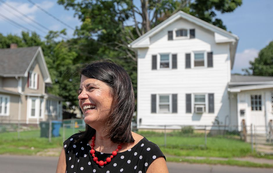 Democratic congressional candidate Mary Glassman, of Simsbury, smiles outside Jonal Labs Inc. in Meriden, Tuesday, August 7, 2018. Glassman spent the day reaching out to voters one week before Tuesday's primary election. Dave Zajac, Record-Journal