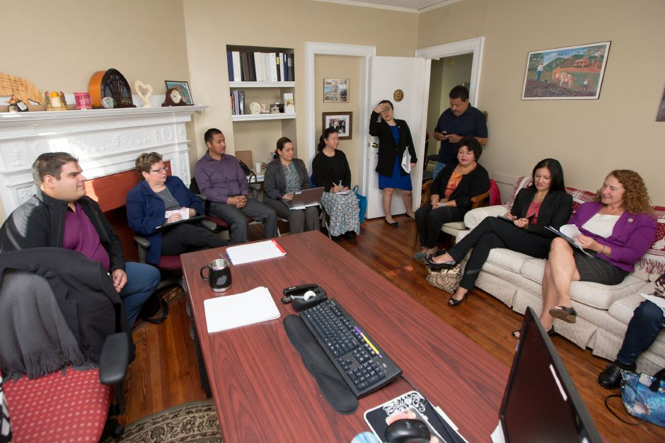 Congresswoman Elizabeth H. Esty right meets with the Meriden Disaster Relief Committee Tuesday at Casa Boricua in Meriden. To date there are 51 children relocating to the area. October 31, 2017 | Justin Weekes / For the Record-Journal