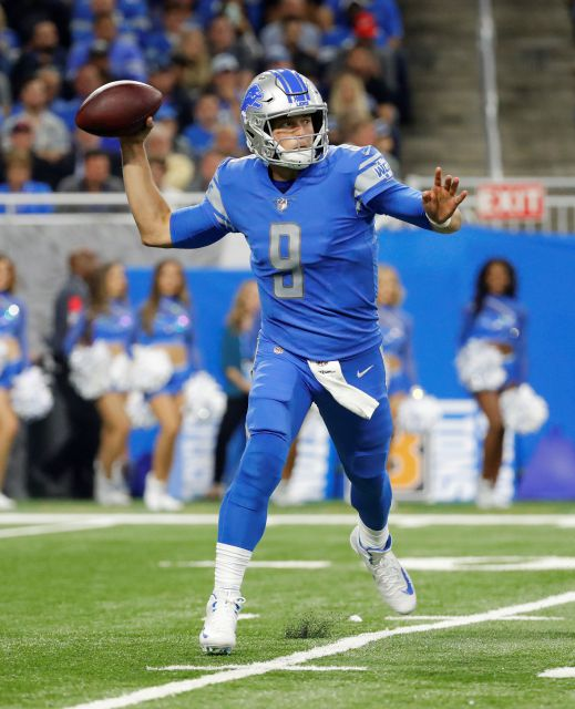 Detroit Lions quarterback Matthew Stafford (9) throws against the New York Jets during the first half of an NFL football game in Detroit, Monday, Sept. 10, 2018. (AP Photo/Rick Osentoski)