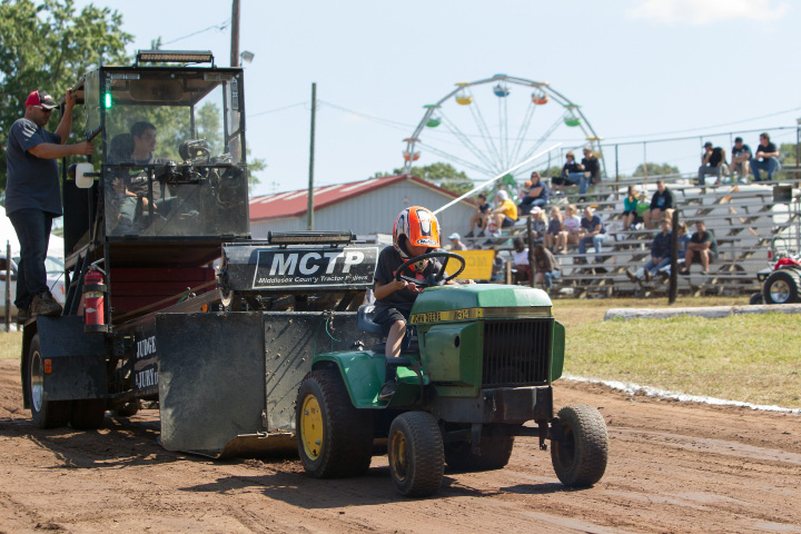 Alex Giaccone 9 of Marlborough makes a pulling attempt in the tractor pull Sunday during the 75th Annual North Haven Fair in North Haven September 10, 2017 | Justin Weekes / For the Record-Journal