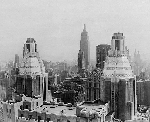 Twin Towers atop the Waldorf Astoria Hotel  make an interesting addition to the New York Skyline.   This is view of the top of this Manhattan hotel at Park Avenue and 50th Street    The Waldorf-Astoria Hotel is shown in this photo dated September 1, 1931.    AP Photo).