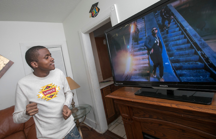 Shunnar Jackson Adkins, 16, of Meriden, who was diagnosed with autism at age two, dances to a Chris Brown video at his residence, Friday, March 17, 2017. Shunnar has trouble communicating and suffers from seizures, headaches and gastrointestinal issues, among other health problems including a recent unexplained weight loss. A fundraiser in April aims to raise money for Shunnar to travel to Mexico to undergo experimental stem cell treatment. | Dave Zajac, Record-Journal