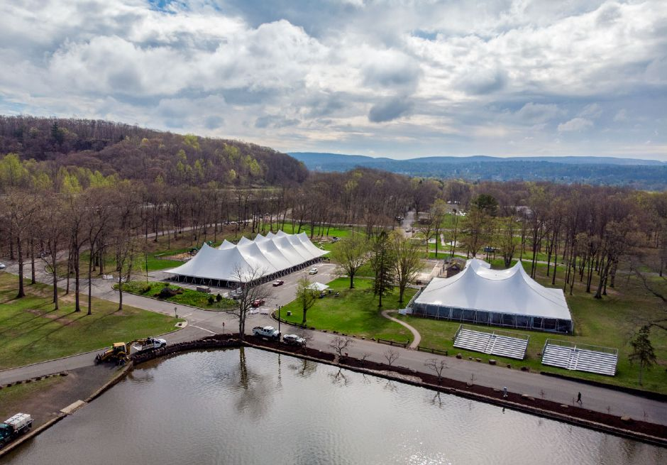 Parks crews were busy Monday April 22, 2019 getting Hubbard Park in Meriden ready for the Daffodil Festival. | Richie Rathsack, Record-Journal