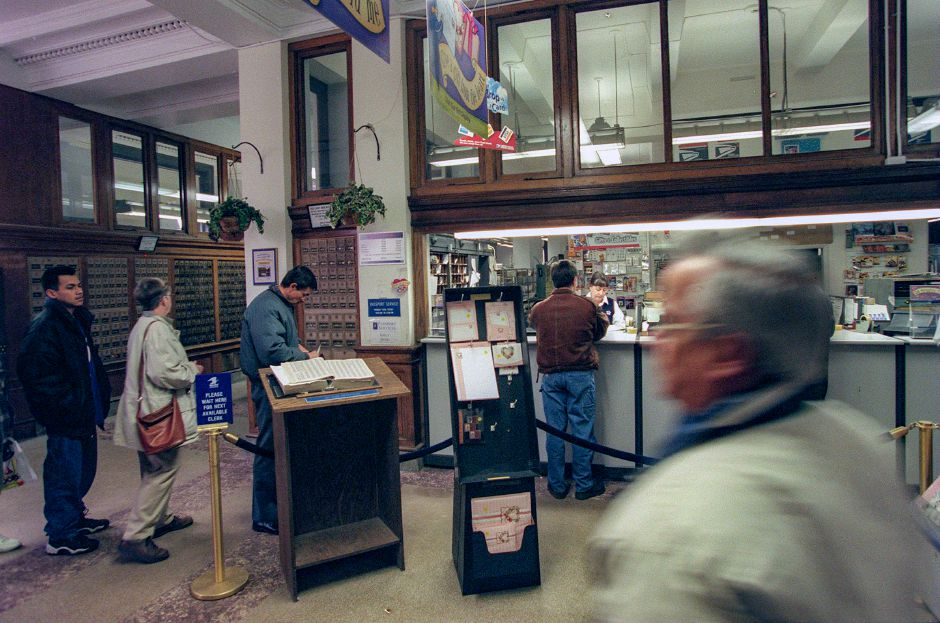 RJ file photo - Lines are long at the main post office in Meriden these days, in part because of the closing of Station A, Jan. 1999.