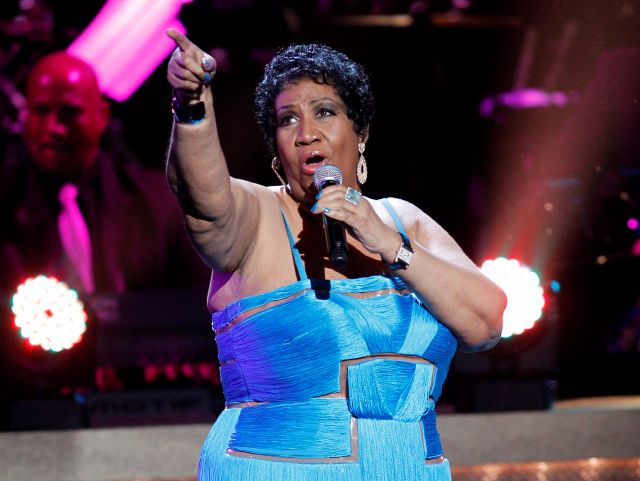 FILE - This Jan. 14, 2012 file photo, shows singer Aretha Franklin performing during the BET Honors at the Warner Theatre in Washington. Franklin died Thursday, Aug. 16, 2018 at her home in Detroit.  She was 76. (AP Photo/Jose Luis Magana, File)