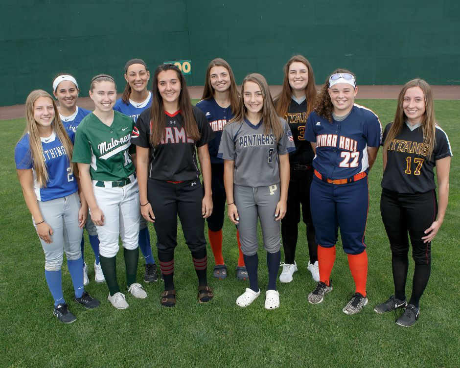 Introducing the 2018 All Record-Journal Softball Team. In front, from left, are Maloney