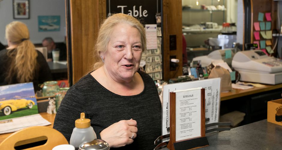 Lori Vincent, co-owner of Scotty's Breakfast nook on Hall Avenue in Wallingford, says the business gets a lot more sandwich to-go orders when it snows, Tuesday, March 13, 2018. Dave Zajac, Record-Journal