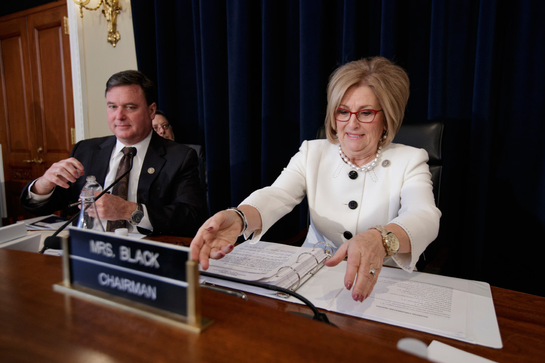 House Budget Committee Chair Rep. Diane Black, R-Tenn., joined by Rep. Todd Rokita, R-Ind., prepares to gavel a hearing on the Republican health care bill, Thursday, March, 16, 2017, on Capitol Hill in Washington. (AP Photo/J. Scott Applewhite)