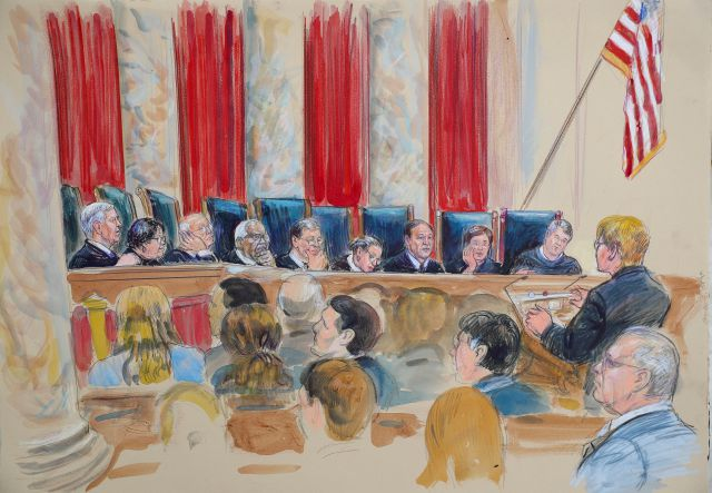 This courtroom sketch depicts Attorney Brenda G. Bryn, far right standing, speaking in front of from l-r, Associate Justice Neil Gorsuch, Associate Justice Sonia Sotomayor, Associate Justice Stephen Breyer, Associate Justice Clarence Thomas, Chief Justice of the United States John Roberts, Associate Justice Ruth Bader Ginsburg, Associate Justice Samuel Alito Jr., Associate Justice Elena Kagan and Associated Justice Brett Kavanaugh, at the Supreme Court in Washington, Tuesday, Oct. 9, 2018. Also present as a guest of the court is retired Associate Justice Anthony Kennedy, lower right hand corner seated. (Dana Verkouteren via AP)