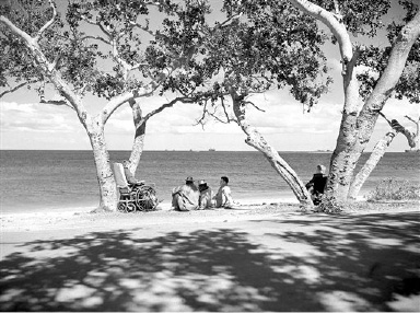 Patients at a U.S. Army hospital base on an island somewhere in the South Pacific on August 29, 1943, sit on the sands gazing idly out to sea. Some are veterans of the New Georgia campaign. (AP Photo/Clarence Hamm)