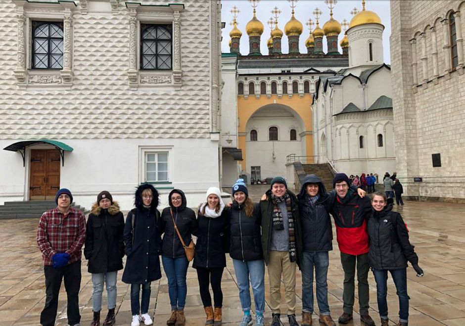Troy Willis, left, poses with the Connecticut College Russian Club while visiting Russia over spring break this year. Willis will spend 10 weeks in Russia this summer as part of a scholarship program from the U.S. State Department. | Photo courtesy Troy Willis