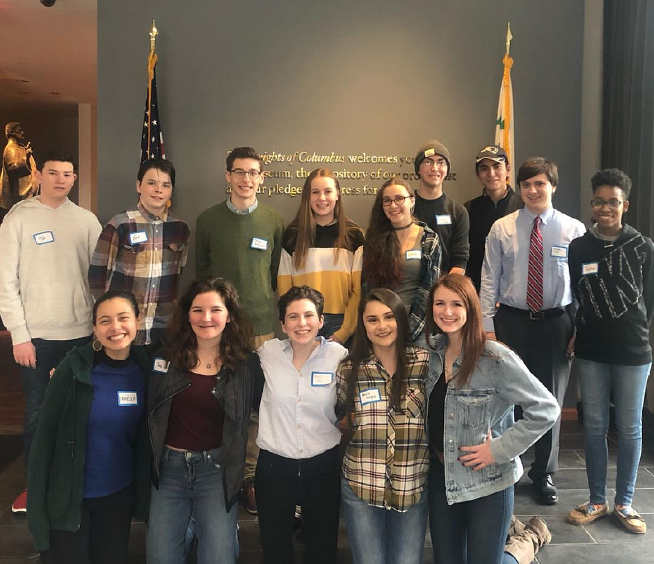 "The students selected to travel to France this summer for the ""Digging Into History: WWI Trench Restoration."" Front row, from left: Daniella Lebron, Julia Proto, Mairead Lacey, Emily Borges, Katy Hitson. Back row: Aaron Cohen, Sam Robinson, Josh Picoult, Riana Klisus, Lillith Davies-Smith, Lucas Rodriguez, Elijah Santiago, Joseph Viski, Tasha McClain. Not pictured: Alani Burke."