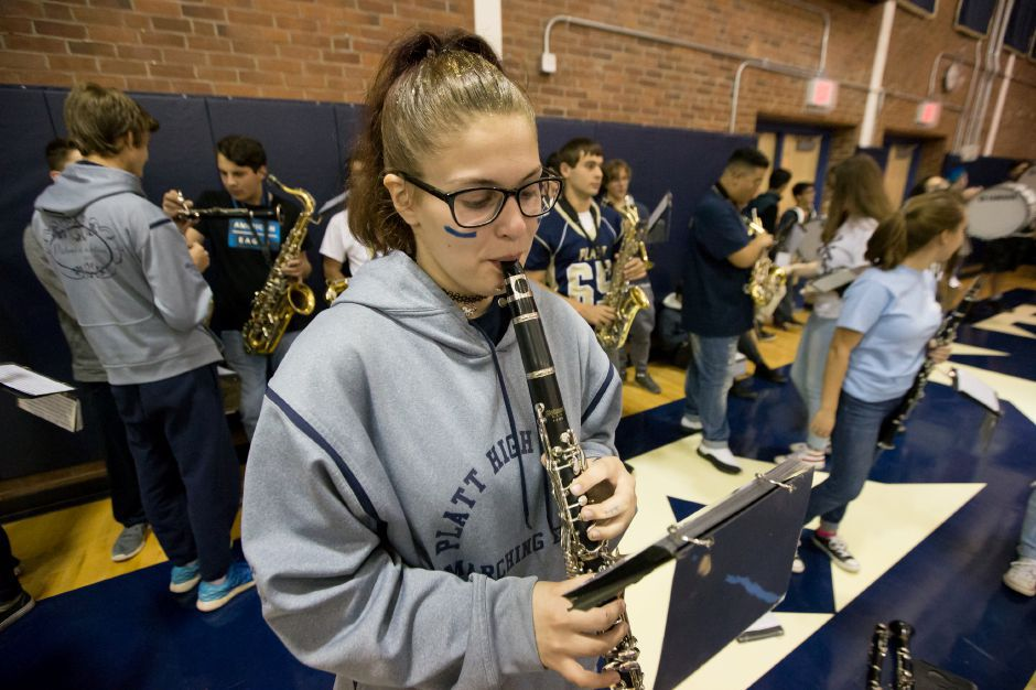 Megan Cerbie of the Platt Marching Band warms up Wednesday during the Platt Pep Rally at Platt High School in Meriden November 22, 2017 | Justin Weekes / For the Record-Journal