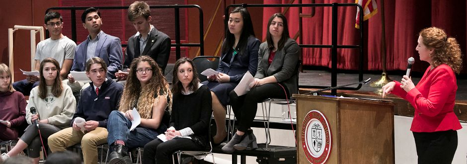 Congresswoman Elizabeth Esty (CT-5) answers questions on gun violence prevention and school safety from members of the Young Democrats and Young Republicans clubs, left, at Cheshire High School, Monday, March 19, 2018. Dave Zajac, Record-Journal