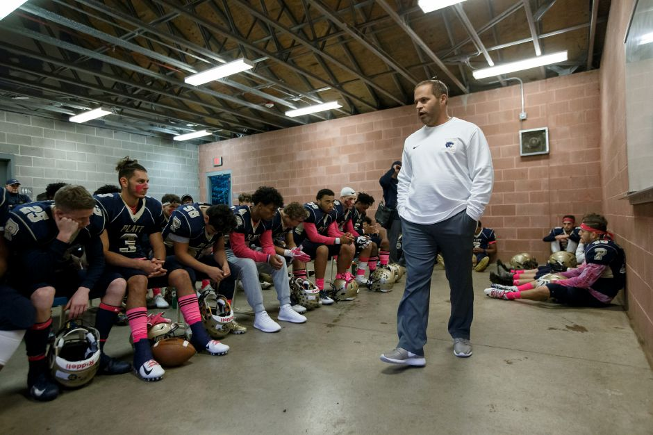 Head coach Jason Bruenn and his Platt Panthers are back in the Class L playoff hunt after Bristol Central self-reported the use of an ineligible player in two games, including its 21-20 win over Platt on Nov. 2. | Justin Weekes / Special to the Record-Journal