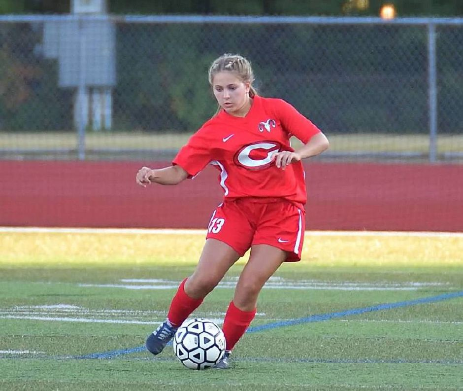 Ellie Pergolotti had one of the goals in Cheshire's 3-1 victory Thursday night over East Haven at Alumni Field. | Photo courtesy of Sandra Pellegrino.