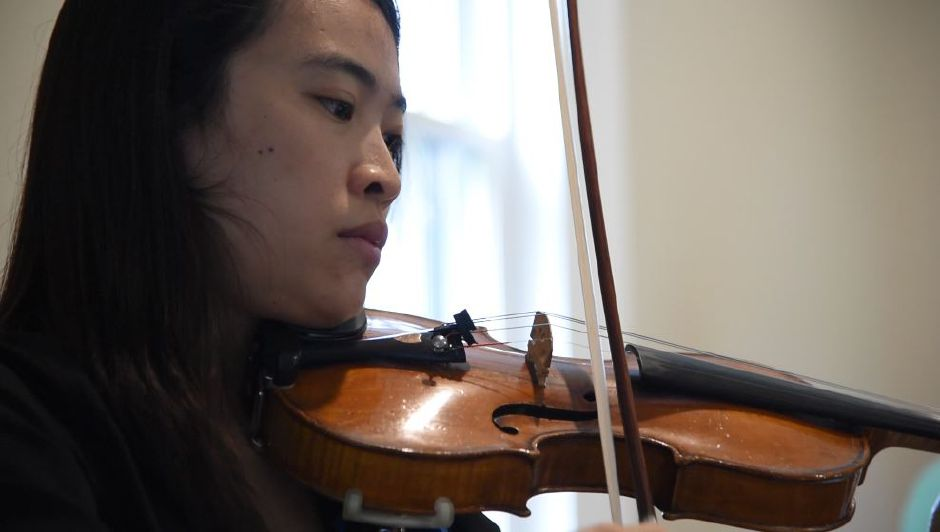 Violinist Evie Chen plays with fellow musicians at Kalmia Garden Music and Arts in Durham on June 17, 2019. The farm and gardens offers an annual Farmhouse Concert Series, including performances this weekend. | Bailey Wright, Record-Journal