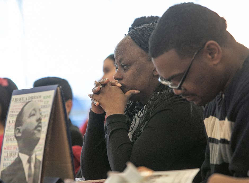 Reggie and Karen Spikes, of Meriden, reflect during the 34th annual Martin Luther King Jr./Albert Owens scholarship breakfast. See more photos at myrecordjournal.com. Dave Zajac, Record-Journal